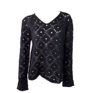 Maglia in misto lana lavorazione traforata a fiori e stringatura con nastro in  raso dietro DMYD Maglie Donna  Nero 50% lana