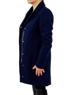 Capotto slim in panno VERO MODA Cappotti Donna Cappotto in panno   cappotto veromoda   cappotto con zip e bottoni  cappotto slim fit Blu 100% Poliestere